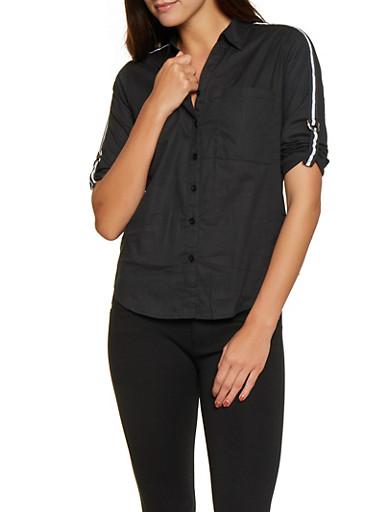 Striped Tape Buckle Sleeve Shirt,BLACK,large