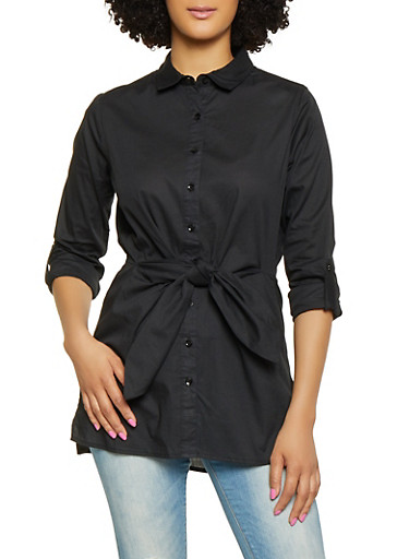 Tie Front Tunic Shirt,BLACK,large