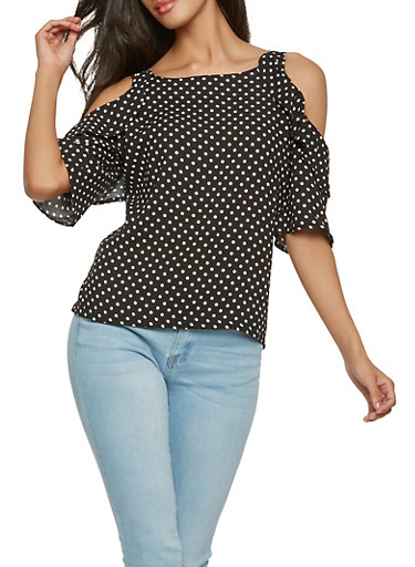 Polka Dot Cold Shoulder Top,BLACK/WHITE,large
