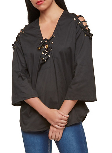 Lace Up Bell Sleeve Top,BLACK,large