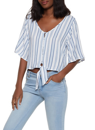 Tie Front Striped Shirt,WHITE,large