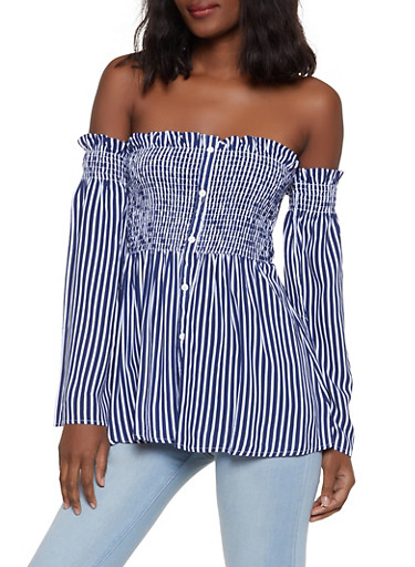 Striped Off the Shoulder Babydoll Top,NAVY,large