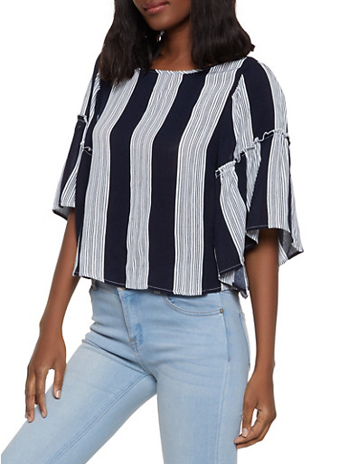 Striped Bell Sleeve Top,NAVY,large