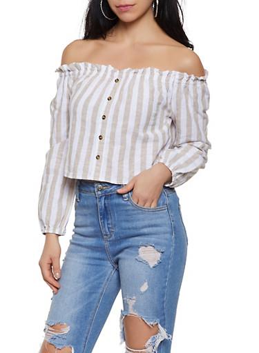 Striped Faux Button Off the Shoulder Top,KHAKI,large