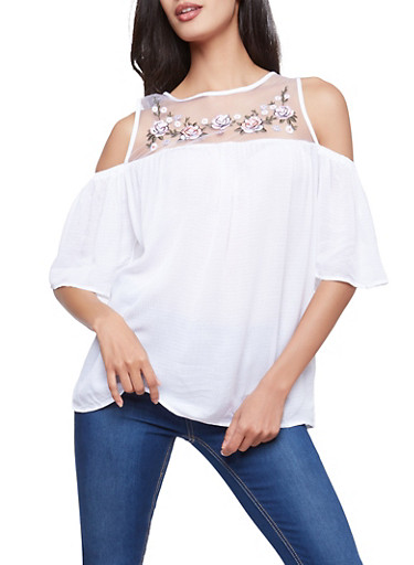 Embroidered Mesh Cold Shoulder Top,WHITE,large