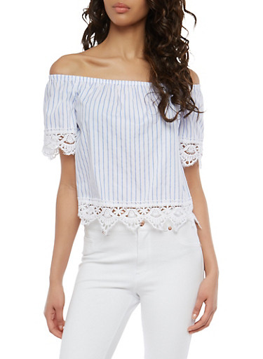 Striped Crochet Trim Off the Shoulder Top,WHITE,large