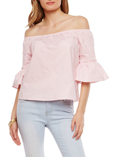 Striped Off the Shoulder Bell Sleeve Top,PINK,large