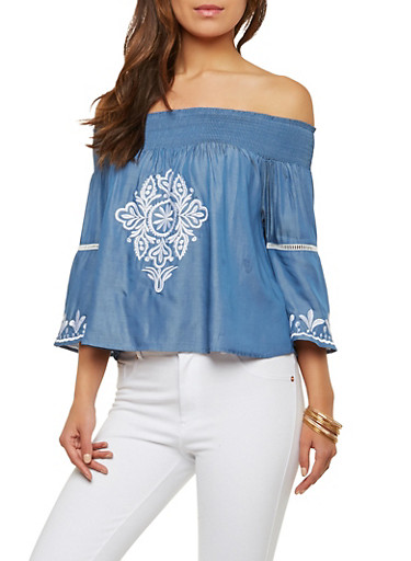 Off the Shoulder Embroidered Chambray Top,DENIM,large