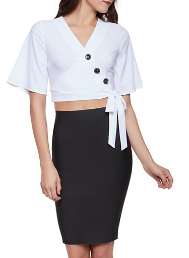 Three Button Wrap Top,IVORY,large