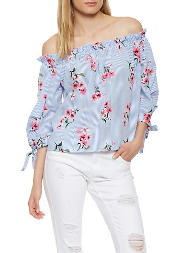 Striped Floral Off the Shoulder Top,BLUE,large