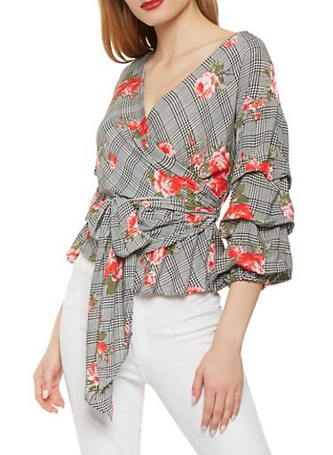 Floral Plaid Bubble Sleeve Wrap Top,BLACK/WHITE,large