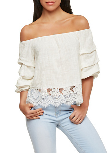 Lace Trim Off the Shoulder Top,WHITE,large