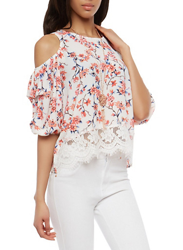 Floral Cold Shoulder Lace Hem Top with Necklace,IVORY,large
