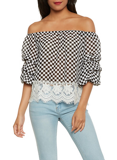 Checkered Off the Shoulder Top,BLACK/WHITE,large