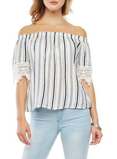 Off the Shoulder Striped Top,WHITE/BLUE,large