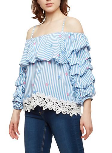 Off the Shoulder Striped Floral Top,BLUE,large