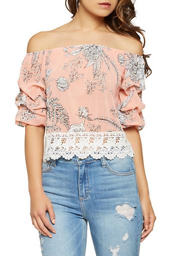 Floral Crochet Trim Off the Shoulder Top,BLUSH,large