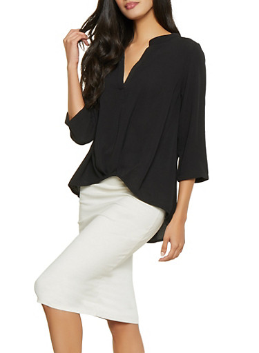 Three Quarter Sleeve Blouse,BLACK,large