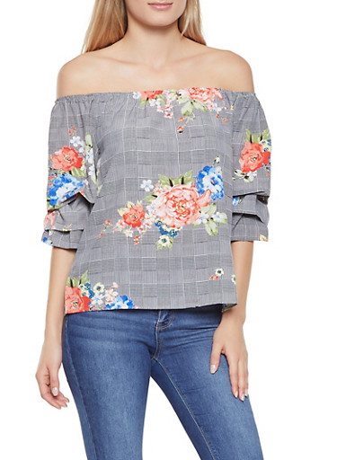 Printed Tiered Sleeve Off the Shoulder Top,BLACK/WHITE,large