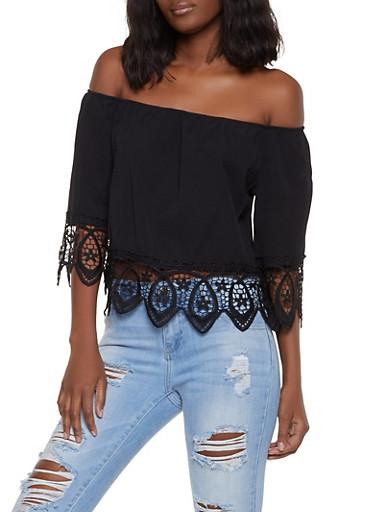 Crochet Trim Off the Shoulder Top   1004058751141,BLACK,large