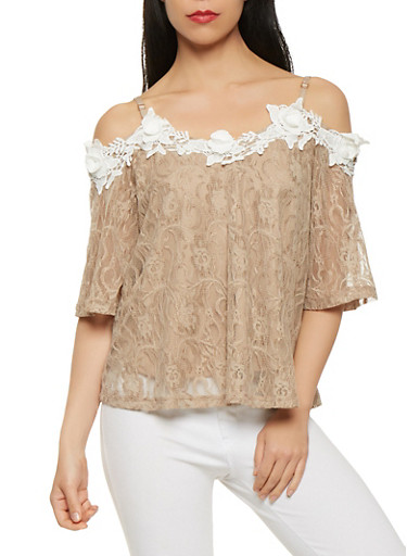 Off the Shoulder Lace Top,MOCHA,large