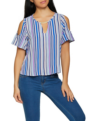Striped Cold Shoulder Top,RYL BLUE,large