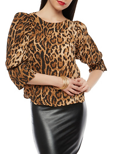 Leopard Print Puff Sleeve Blouse,BROWN,large