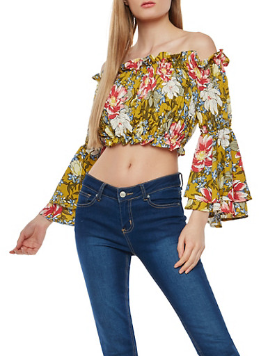 Floral Smocked Off the Shoulder Crop Top,MUSTARD,large