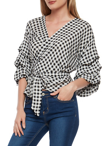 Gingham Print Wrap Top,BLACK MULTI,large