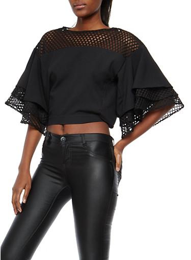 Mesh Trim Tiered Sleeve Top,BLACK,large