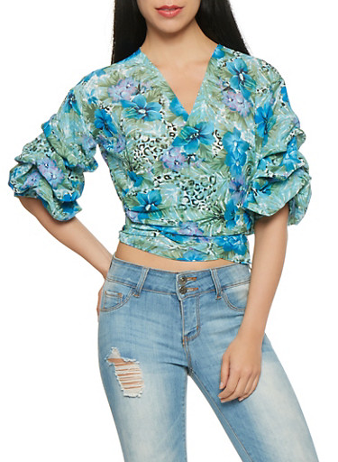 Floral Bubble Sleeve Wrap Top,NAVY,large