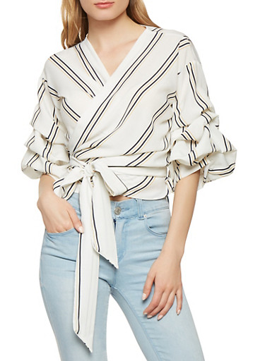 Striped Bubble Sleeve Wrap Top,IVORY,large