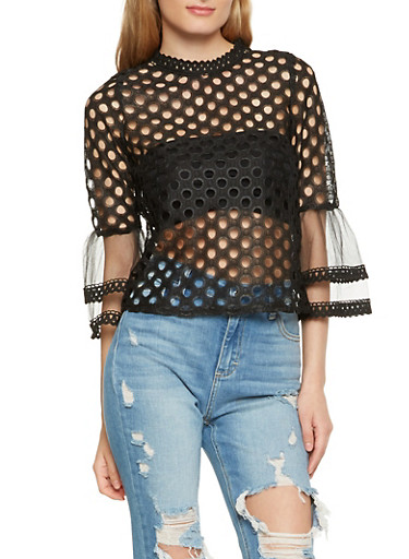 Perforated Zip Back Top,BLACK,large