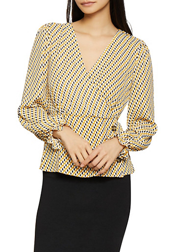 Printed Faux Wrap Blouse,YELLOW,large