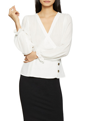 Faux Wrap Blouse,IVORY,large