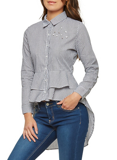 Faux Pearl Studded Striped High Low Shirt,BLACK,large