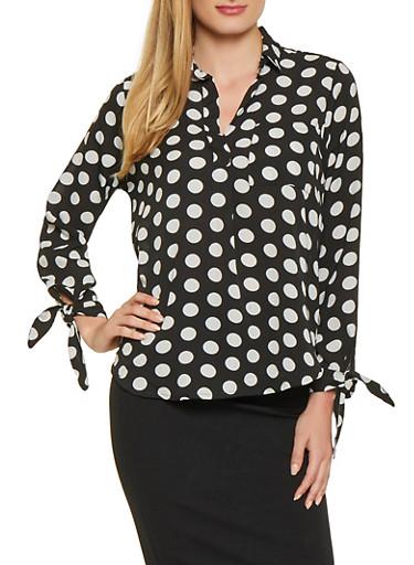 Tie Sleeve Polka Dot Crepe Knit Top,BLACK/WHITE,large