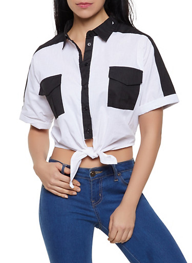 Color Block Button Front Shirt,BLACK/WHITE,large
