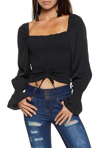 Smocked Long Sleeve Crop Top,BLACK,large