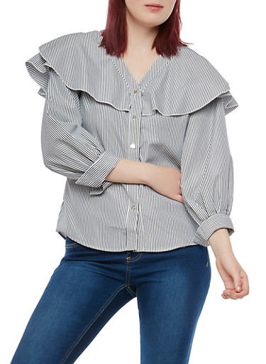 Ruffled Yoke Striped Button Front Top,BLACK/WHITE,large