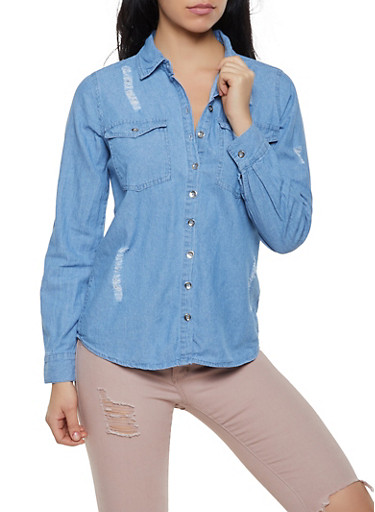 Distressed Denim Button Front Shirt,MEDIUM WASH,large
