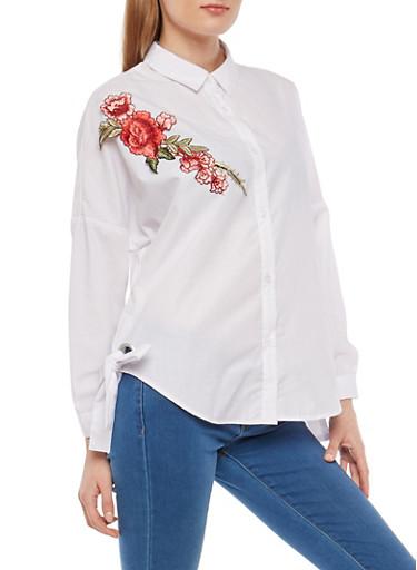 Floral Applique Button Front Shirt,WHITE,large