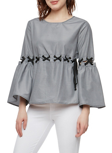 Striped Lace Up Bell Sleeve Top,BLK/WHT,large