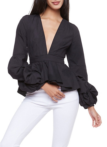 Tiered Sleeve Plunging V Neck Peplum Top,BLACK,large