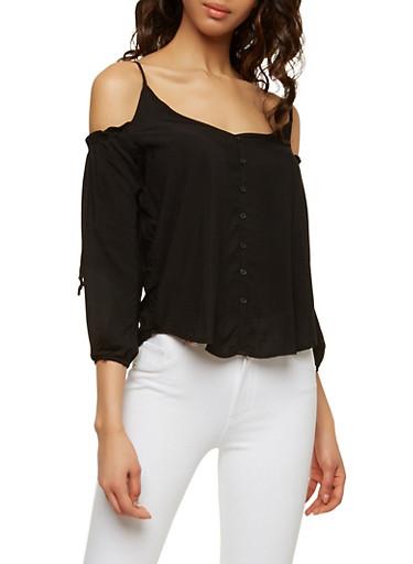 Button Detail Cold Shoulder Top,BLACK,large