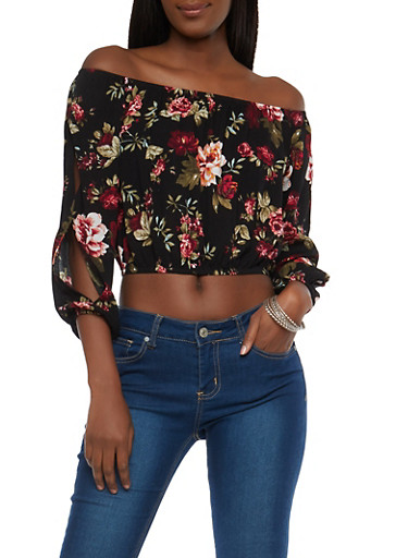 Floral Slit Sleeve Off the Shoulder Crop Top,BLACK,large