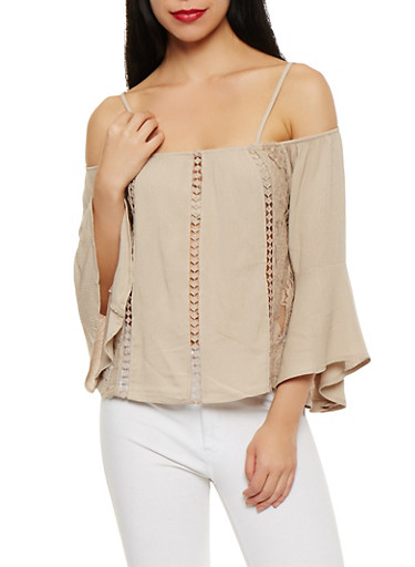 Off the Shoulder Crochet Insert Top,SAND,large