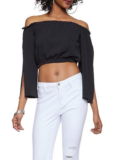 Split Sleeve Off the Shoulder Crop Top,BLACK,large