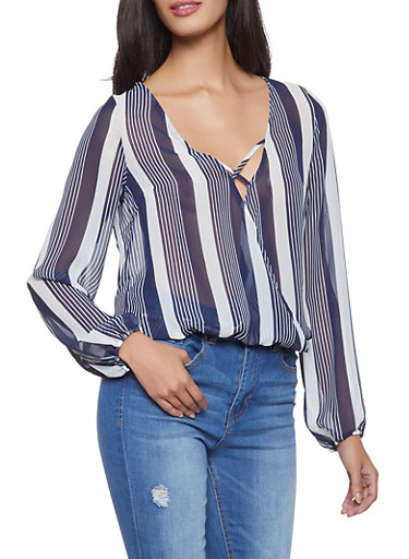 Striped Faux Wrap Top,NAVY,large