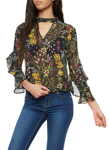 Floral Ruffled Bell Sleeve Top,BLACK,large